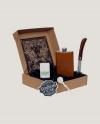 Coffret flasque gainée marron, Couteau de Poche et Briquet
