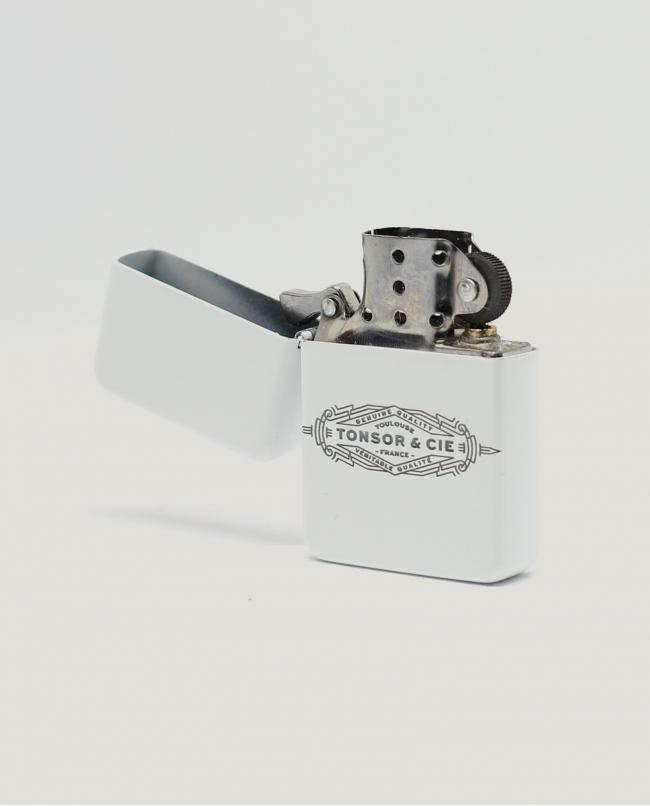 Briquet à Essence Blanc « Art Déco »